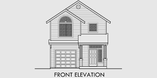 narrow house plans with front garage house front drawing elevation view for 9994 narrow lot house