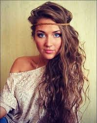 alluring boho hairstyle for curly long hair