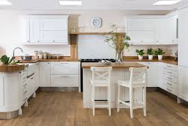 this shaker kitchen features deluxe oak worktops and shaker cabinet doors in farrow ball s all