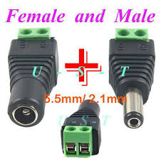 2.1mm*5.5mm Male & Female DC Power Jack Adapter Connector ...