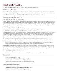 Personal Banker Resumes Resume Templates