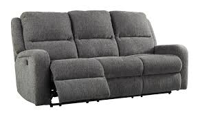 Ashley Furniture Krismen Charcoal Fabric Power Reclining Sofa With