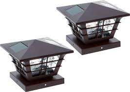 Solar Post Cap Lights Greenlighting 5x5 Solar Post Cap Lights With 4 X 4 Base Adapter Brown 2 Pack