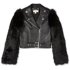michael kors faux fur and leather moto jacket