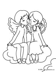 Coloriages Coloriage Gratuit 2 Anges Saint Valentin Fr Hellokids Com