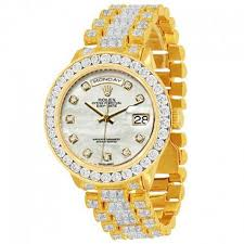 watches market street gold rolex day date 18k solid gold mens diamond watch 35 00 ctw