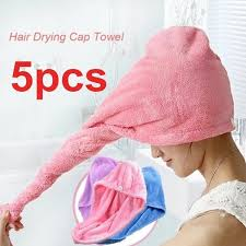 5pcs wrapped hair towels shower cap microfiber bathroom hats solid superfine quickly dry hat
