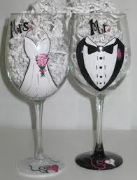 hand painted wedding glasses. hand painted wedding wine glasses for the bride and groom by cindy larimore.