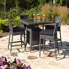 5 Piece Bar Table Set Alcee Resin Wicker Outdoor Patio 5 Piece Bar Table And Chair Set
