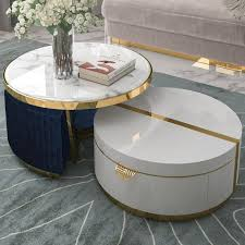 ottomans faux marble coffee table