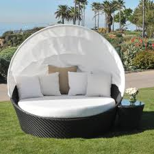 Bedroom:Contemporary Outdoor White Bed With Black Rattan Canopy And  Landscaping Grass Area All Styles