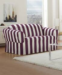 caber surefit boysenberry cabana stripe one piece relaxed fit furniture slipcover