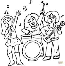 Small Picture Concert of a Female Rock Band coloring page Free Printable