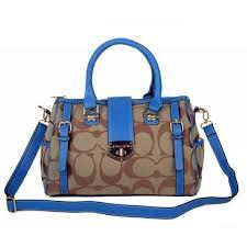 Coach Willis Lock Logo Signature Medium Blue Luggage Bags BRK Outlet Sale