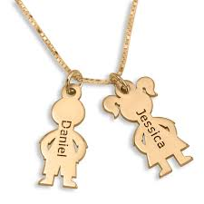 mother s double child charm name necklace 24k gold plated