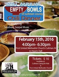 chili supper flyer 14th annual empty bowls of cullman county chili dinner