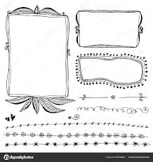 Hand Drawn Vector Border Line Design Elements Set Stock