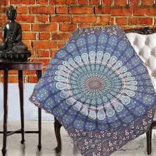 Mandala Quilts – KraftDirect & Boho Quilted Cotton Throws for Sofa - Blue Mandala - KraftDirect Adamdwight.com