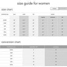 Zaful Size Chart Interpreting The Lululemon Size Chart Returnpolicyhub