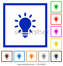 vector square blue icon lighting bulb. set of color square framed lighting bulb flat icons vector blue icon