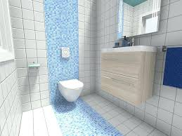 small bathroom with accent wall of blue mosaic tile restroom ideas shower grey that work