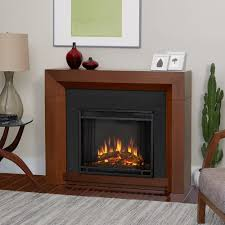 electric fireplace in vintage black maple