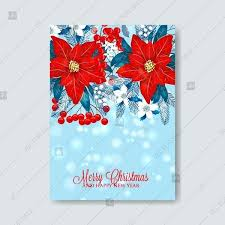 Red Poinsettia Merry And Happy New Year Greeting Card Vector