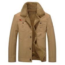 mens thick fleece turn down jacket fashion warm british style outdoor casual winter coat khaki l cod