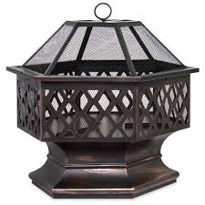 best choice s 24in hex shaped steel fire pit decoration accent for patio backyard poolside w flame ant lid black com