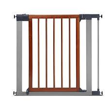 munchkin wood steel pressure mount baby gate for stairs hallways and doors wood light silver model mk0007 012