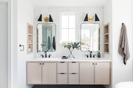 white and wood double vanities