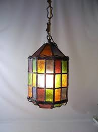 multi coloured glass light shades vintage stained leaded hanging lamp chandelier shade