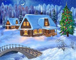 christmas night wallpaper. Fine Christmas Snowy Christmas Night Decoration With Tree Wallpaper  HD  Wallpapers Inside A