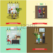 people in elevator clipart. vector set of business people concept posters, banners. presentation, elevator, interview and in elevator clipart