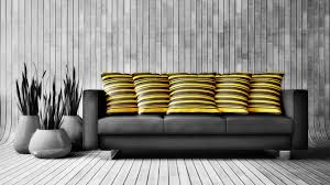 Yellow Living Room Furniture Yellow Striped Pillows Couch And Plant Pots Design Photo
