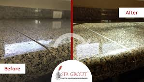 before and after picture of a granite countertop sealing service