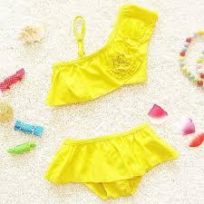 Buy 2015 Beach Yellow girls bikini Baby girls swimsuit Split Swim ...