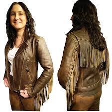 womens elite fringed antique brown leather jacket hover or