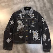 Designer Jean Jacket Winter Black Denim Jacket Eye Sequined Designer Jean Coat In