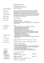 Skills Resume Template Marketing Executive Resume Skills Based ...