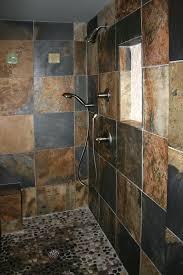 custom tile showers tile st louis bath remodel slate shower with pebble mosaic