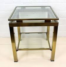 design side table in brass frame with cut hard glass plates italy second half