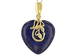 blue lapis lazuli 18k gold over silver enhancer with chain fch219 jtv com
