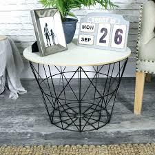 basket side table black metal wire wooden top wicker bedside round coffee si
