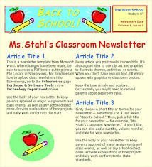 Classroom Newsletter Templates Weekly Template Free Es With
