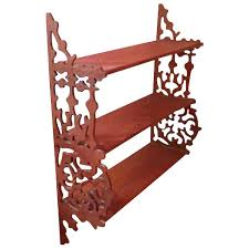 3 tier wall shelf display shelves vintage hanging wood what not fretwork mounted white