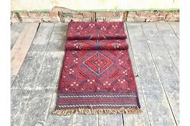 vintage mid century large red blue kilim runner rug with geometric design photo