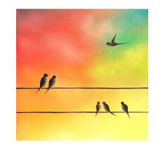 birds on a wire painting family of birds painting silhouette bird family original oil painting abstract bird in flight whimsical art 8x8