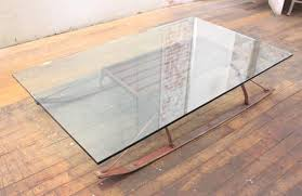 Coffee Table Vintage Industrial Wood And Glass Sled 2