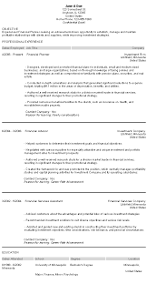Resume For Financial Advisor With Financial Advisor Resume And Financial  Planner Resume